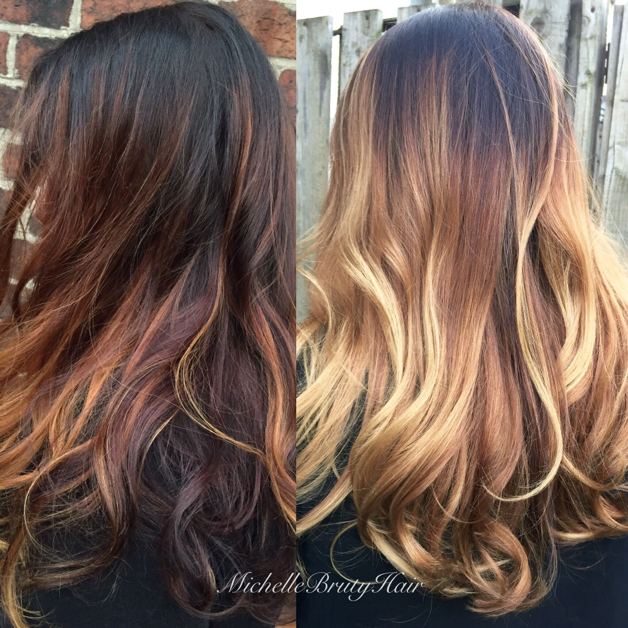 Brunette Shadow Root And Golden Honey Blonde Balayage