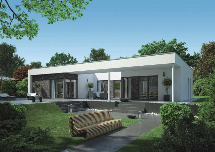 bungalow fertighaus grundriss haus bauen tipps aussen moderne architektur einfamilienhaus in