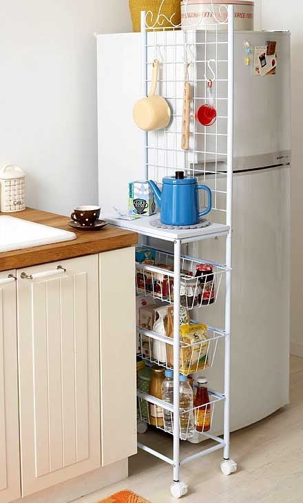 как можно использовать место у холодильника #smallkitchendecor