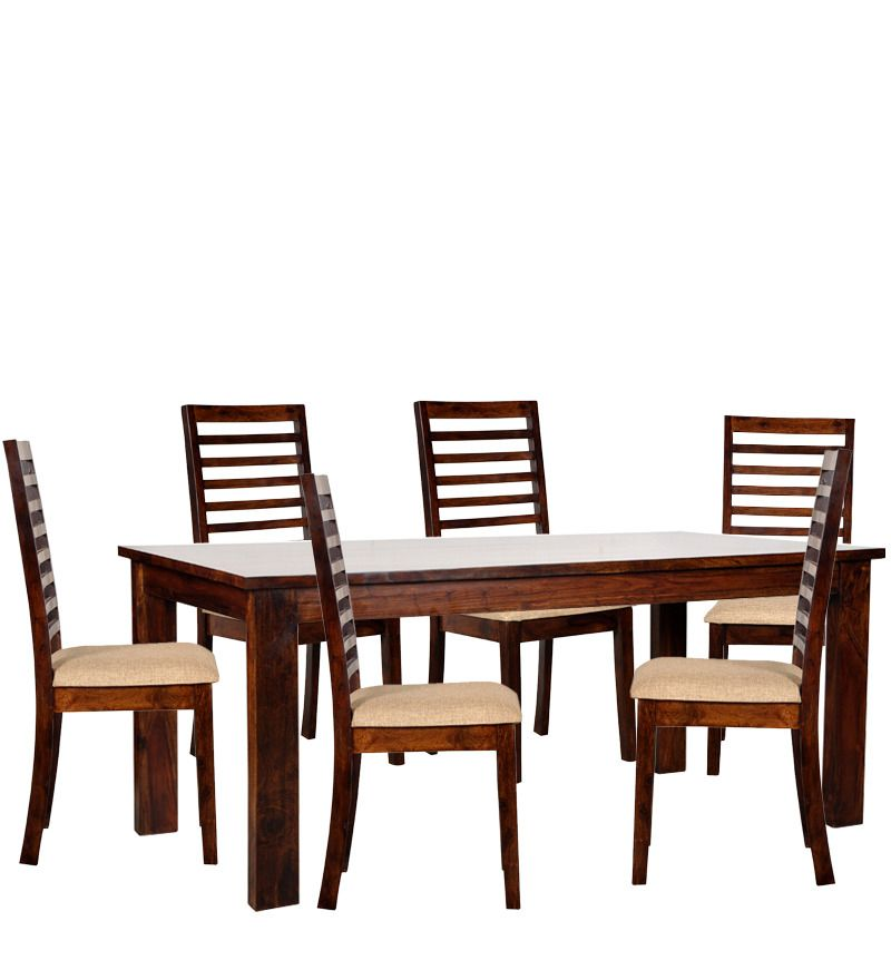 Sao Paulo Six Seater Dining Table Set in Provincial Teak Finish by