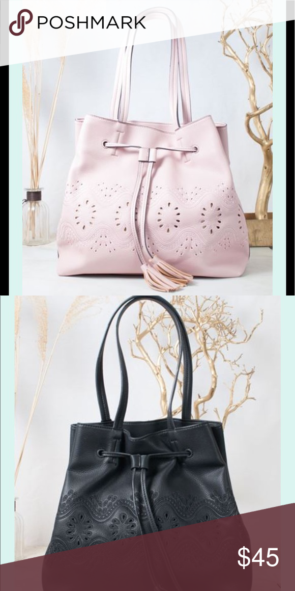Black Blush Alaya Purse This Soft Unstructured Tote Features Beautiful Cutout Detailing Accent
