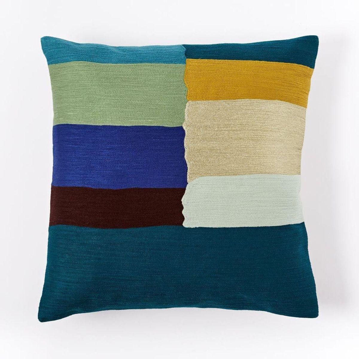 Crewel mixed stripes cushion cover regal blue cushion pinterest