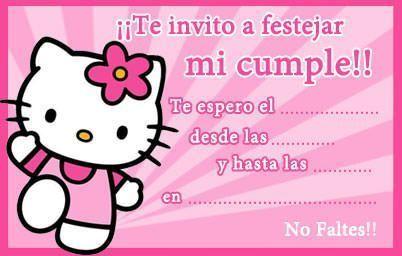 Tarjetas Cumpelanos Hello Kitty Pequena Invitaciones De
