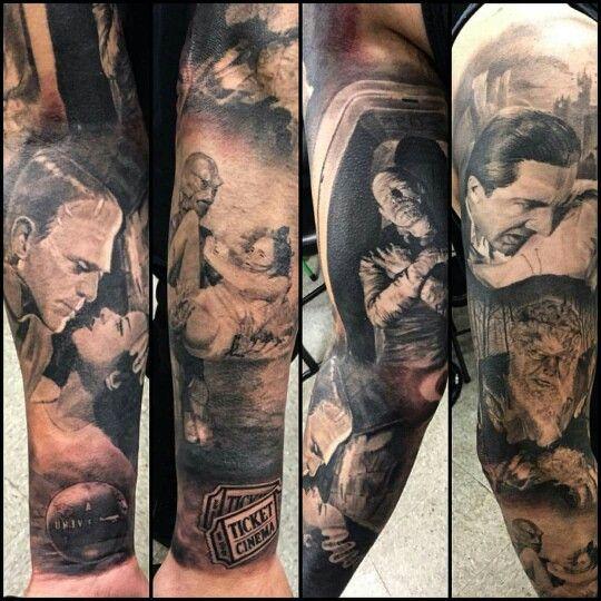 Universal Monster Sleeve Monster Tattoo Creepy Tattoos Universal Monsters Tattoo