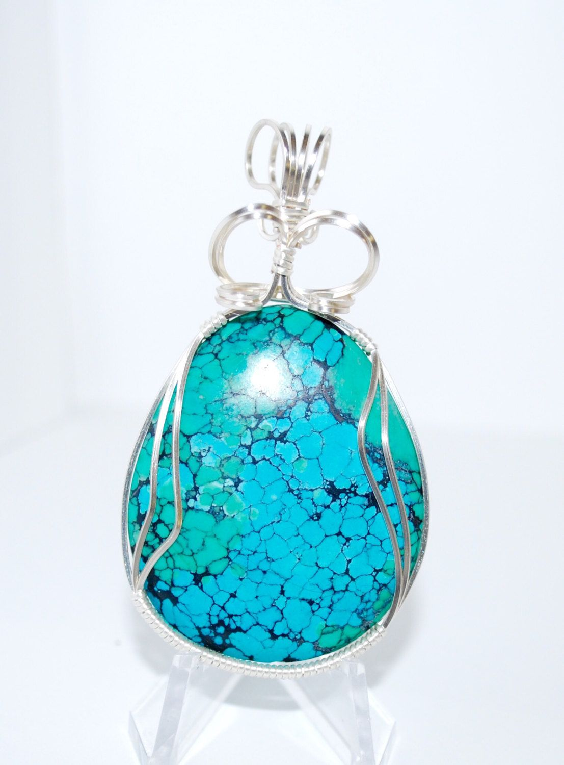 Wire Wrapped in Silver Wire Chinese Turquoise Cabachon Pendant