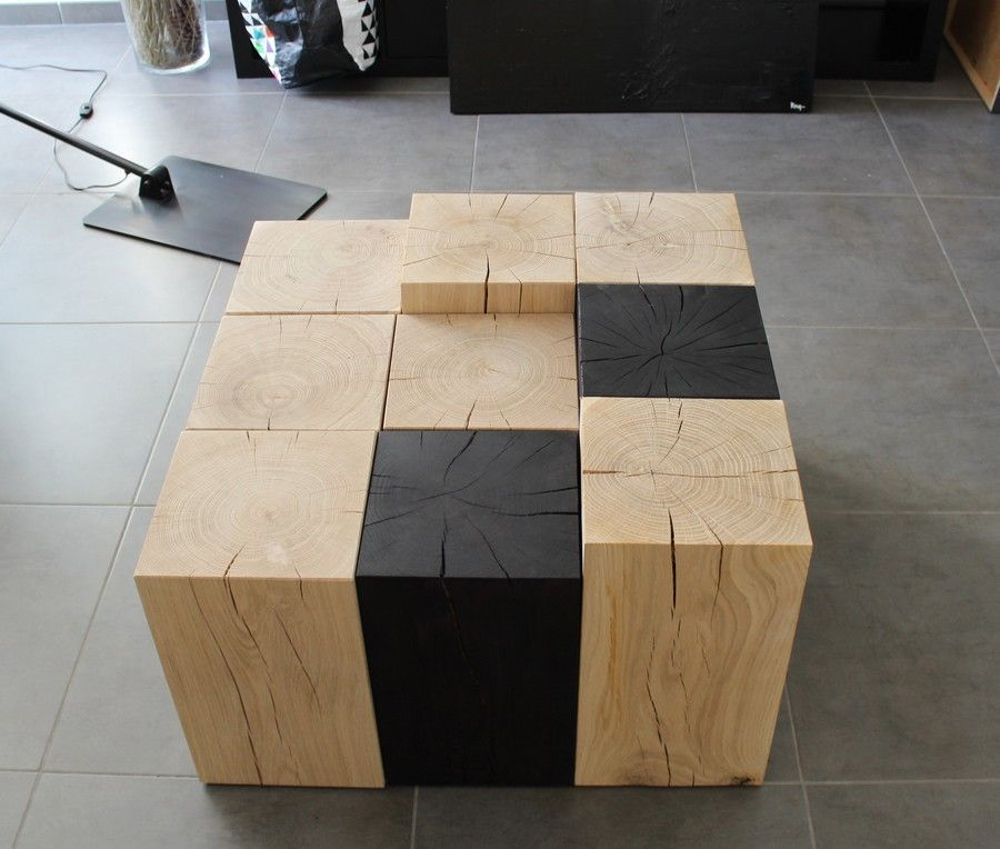 table basse cube bois