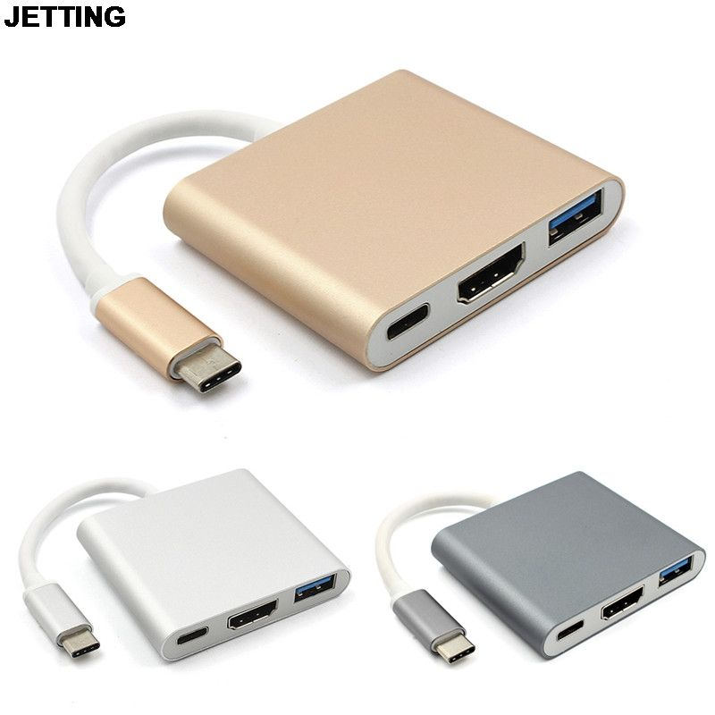 Type C USB 3.1 to USB-C 4K HDMI USB Adapter 3 in 1 Hub For Apple Macbook