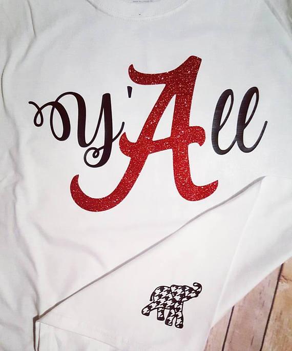 Y All Southern Alabama Shirt Glitter Vinyl Checkered