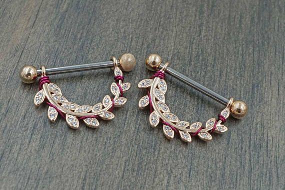 Nipple shield nipple ring leaf rose gold nipple jewelry 14 gauge