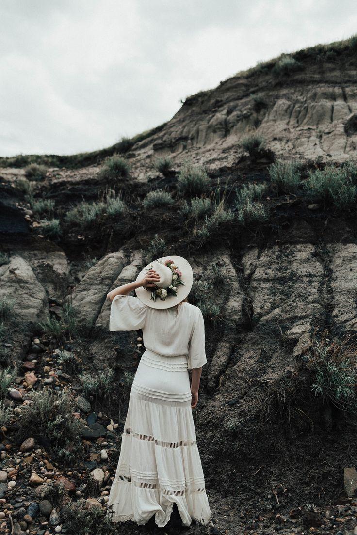 Dramatic elopement inspo 😍 gorgeous boho wedding dress and bridal hat