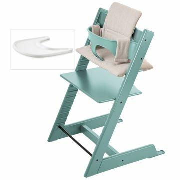 Stokke Tripp Trapp Bundle Aqua Signature Stripe Stokke Tripp Trapp Stokke Baby High Chair
