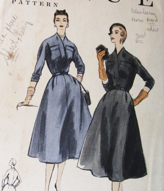 50s Vogue 8458 Full Skirt Dress with No Collar Shirt by SloCrafty