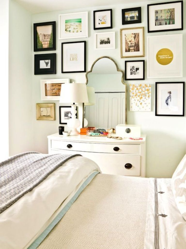 Master bedroom gallery wall  White Bedroom with Eclectic Gallery Wall  Bedroom  Pinterest