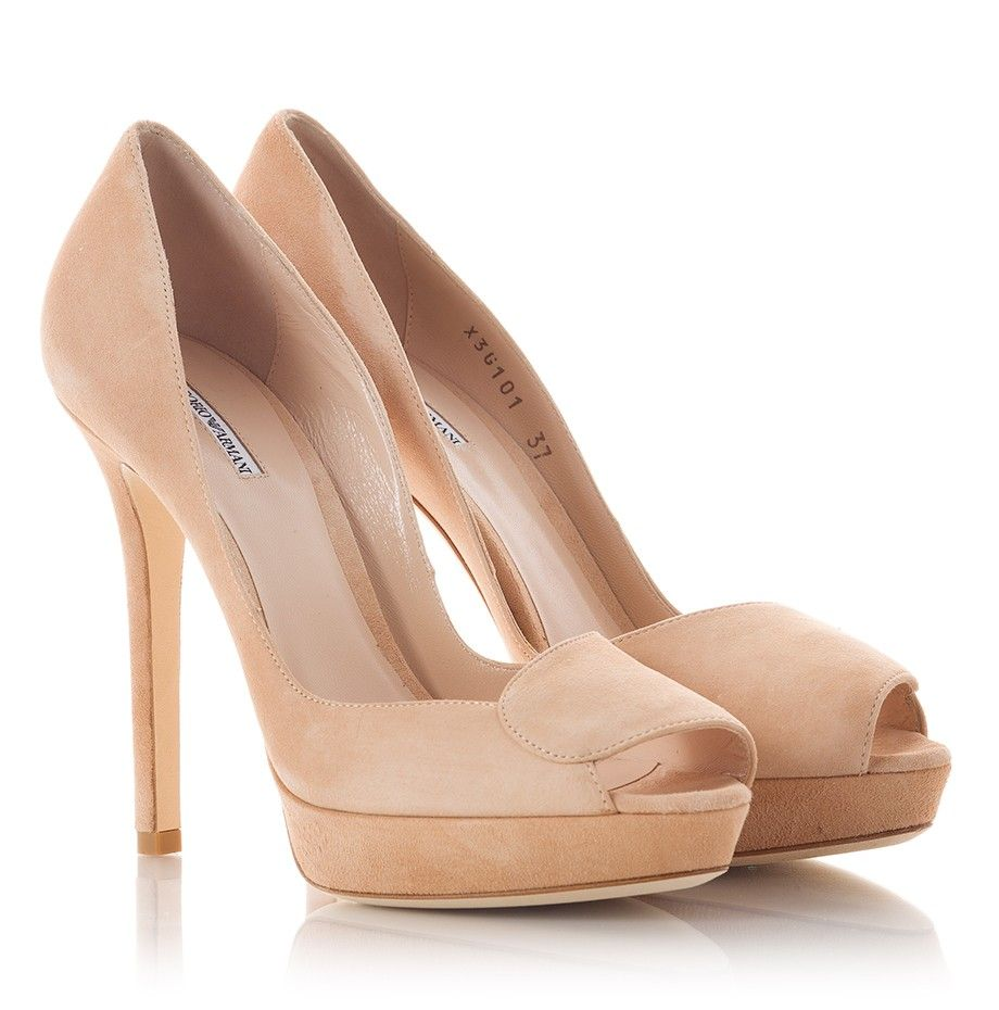 Emporio Armani Art. X3G101 Stiletto heel peep-toe pumps in beige ...