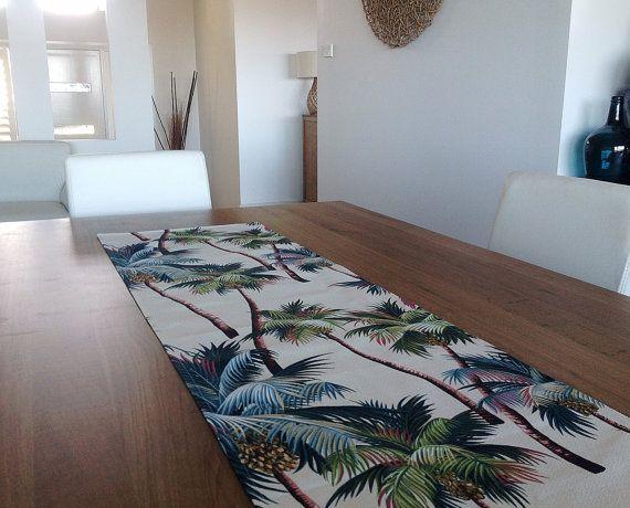Table Runner Hawaiian Palms Tropical Coastal by IslandHomeEmporium