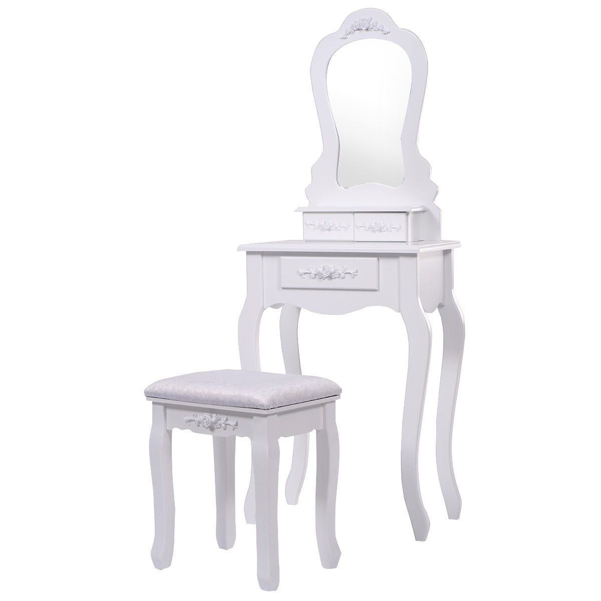 White Vanity Jewelry Makeup Dressing Table Set W Stool Drawer Mirror Wood Desk