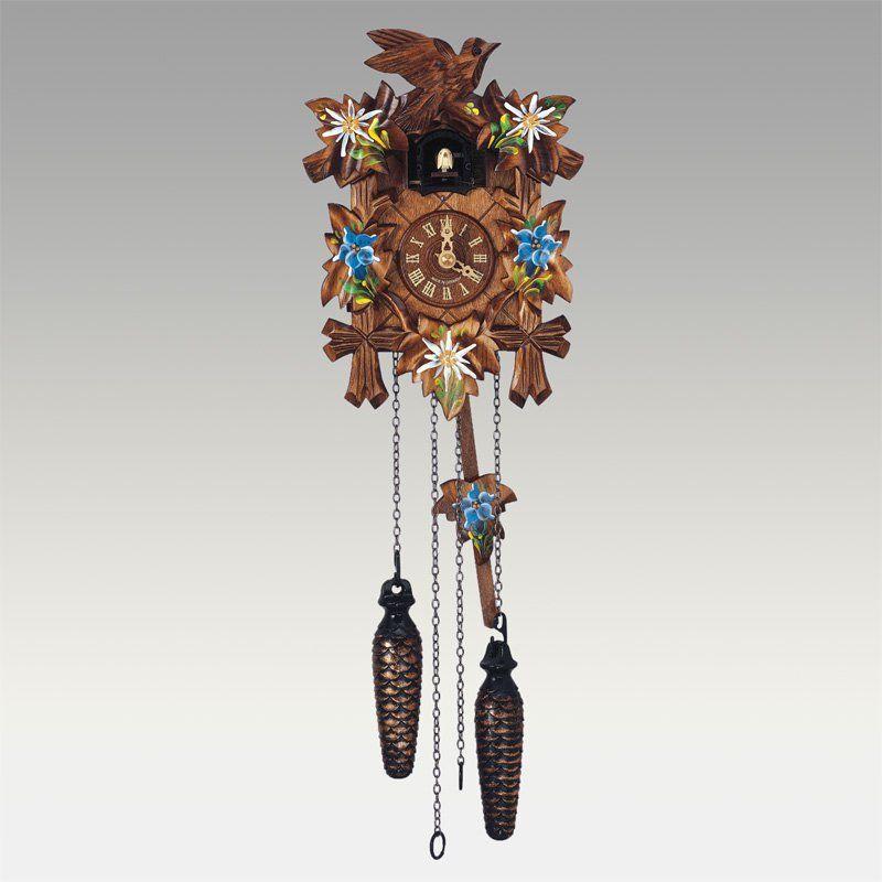 schneider 9 inch quartz handpainted flowers black forest cuckoo clock hz - Black Forest Cuckoo Clocks