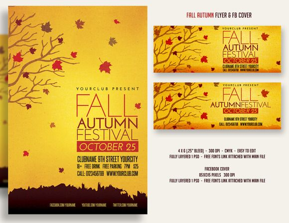 Fall Autumn Festival Flyer \ FBcover Creative, Festivals and - fall flyer
