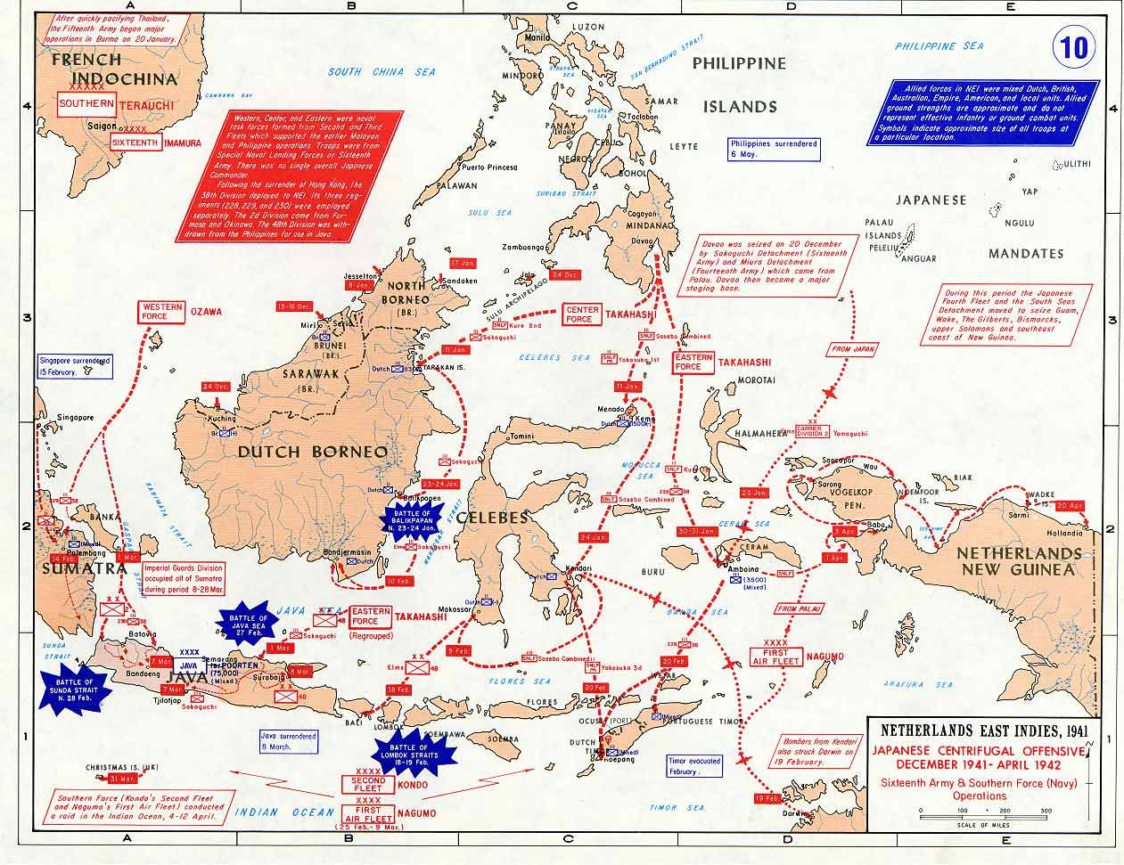 Map Map Showing Japanese Offensives In The Dutch East Indies Dec