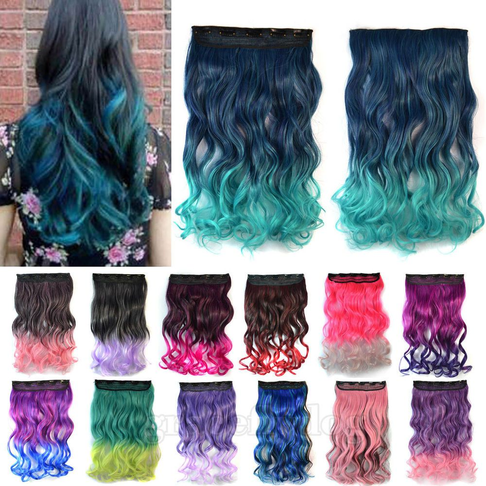 Clip In Long Curly Gradient Hair Ombre Hair Hairpieces Synthetic