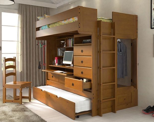 Solid Wood Full Size All In One Loft Bed With Built Storage Desk Shelves
