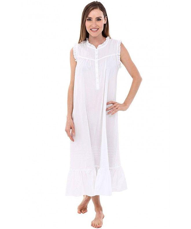 3304988227 Womens Emma Cotton Nightgown- Sleeveless Victorian Sleepwear - White -  CU12O0SZZB3