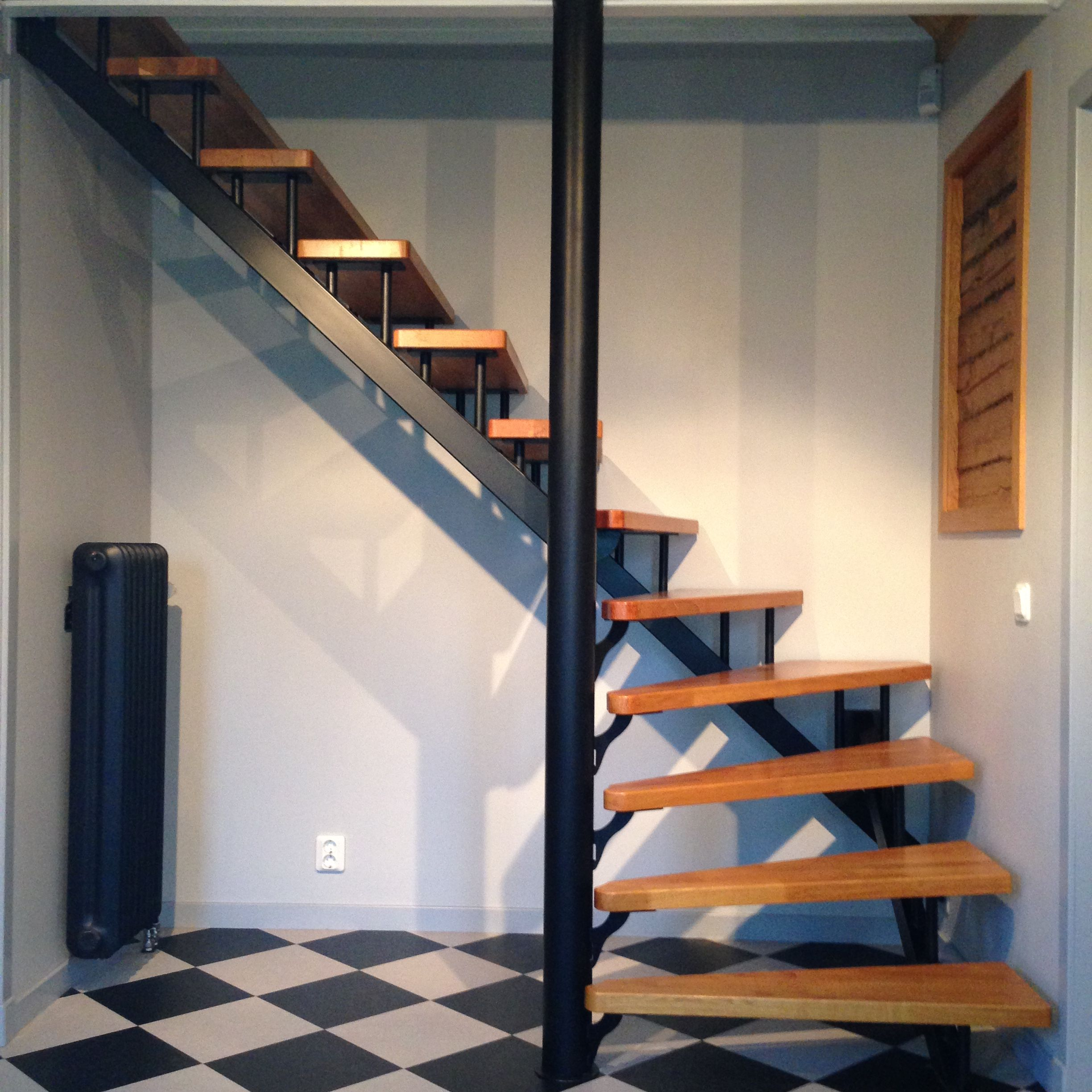 Oak Arbor Grille Pa: Stair I Made, Painted Stainless And Oak Steps. Also Opened