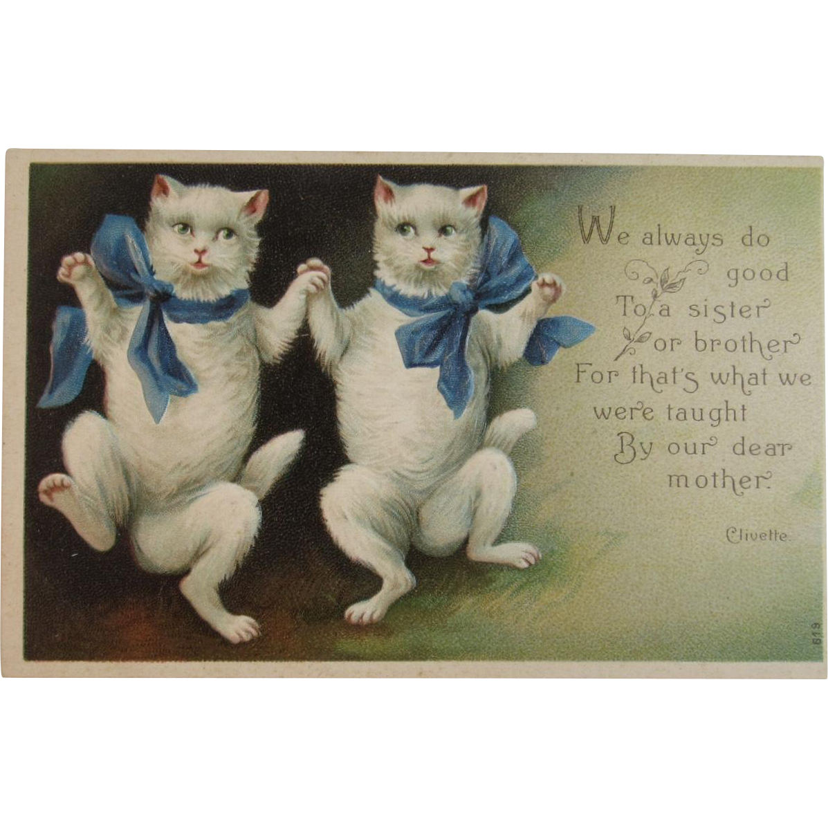 Clivette Dancing Cats With Blue Ribbons Embossed Postcard Dancing Cat Crazy Cat People White Kittens