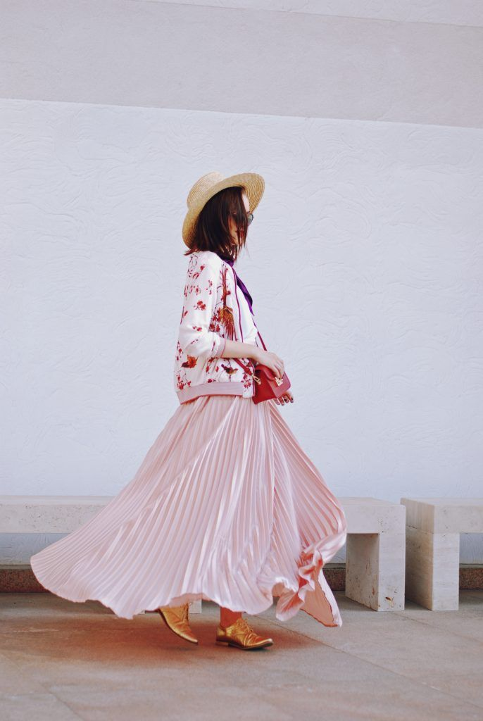 Bomber jacket, straw hat, scarf, red crossbody bag, dior sunglasses, pink maxi…