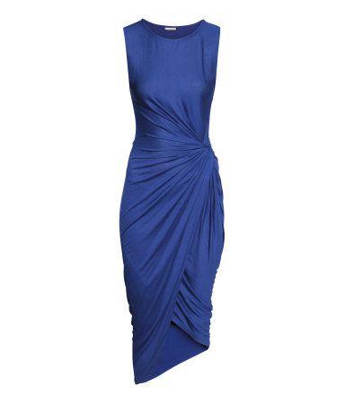 ee9014ee0b9 HM Draped Dress (Sleeveless. Twisted knot. Wrapover skirt. Blue ...