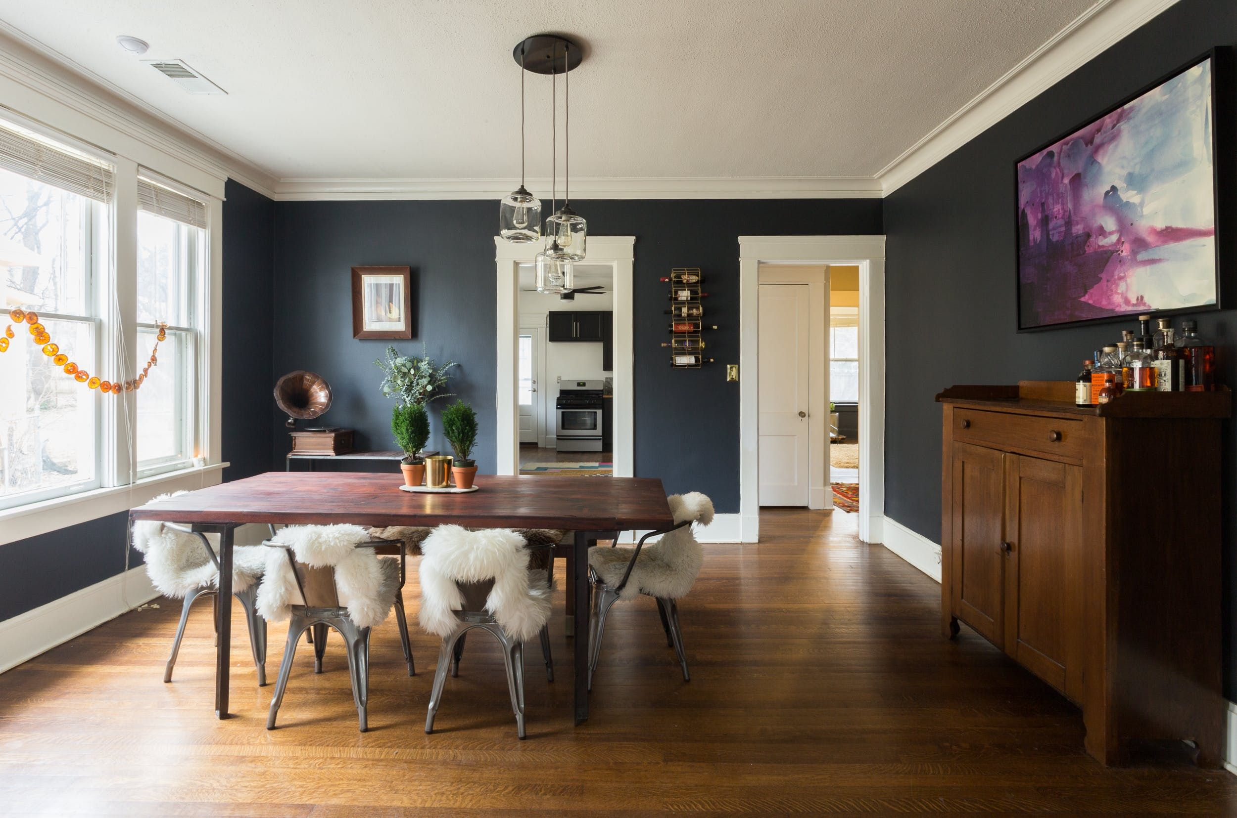 A Modern Memphis Bungalow Filled With Love Equity Dark Dining