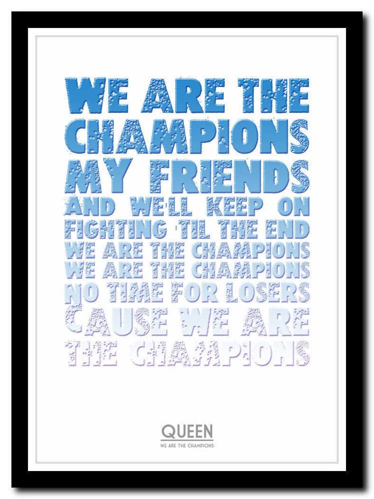 QUEEN - We Are The Champions 2- song lyric poster typography art print - 4 sizes   eBay   Song lyric posters. Lyric poster. Typography poster