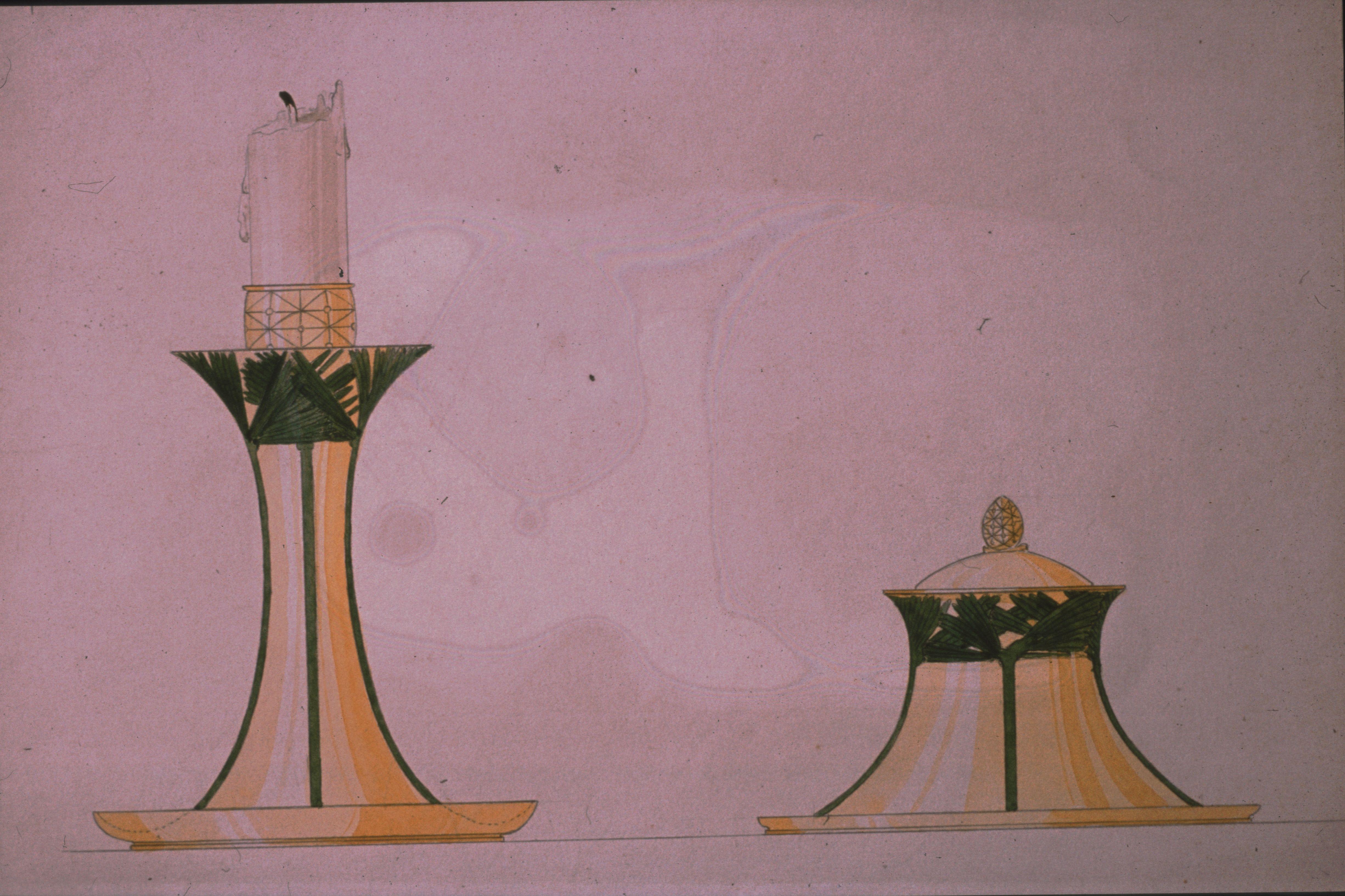 Gustav Gaudernack. Design of candlestick holder and inkwell. Silver and enamel