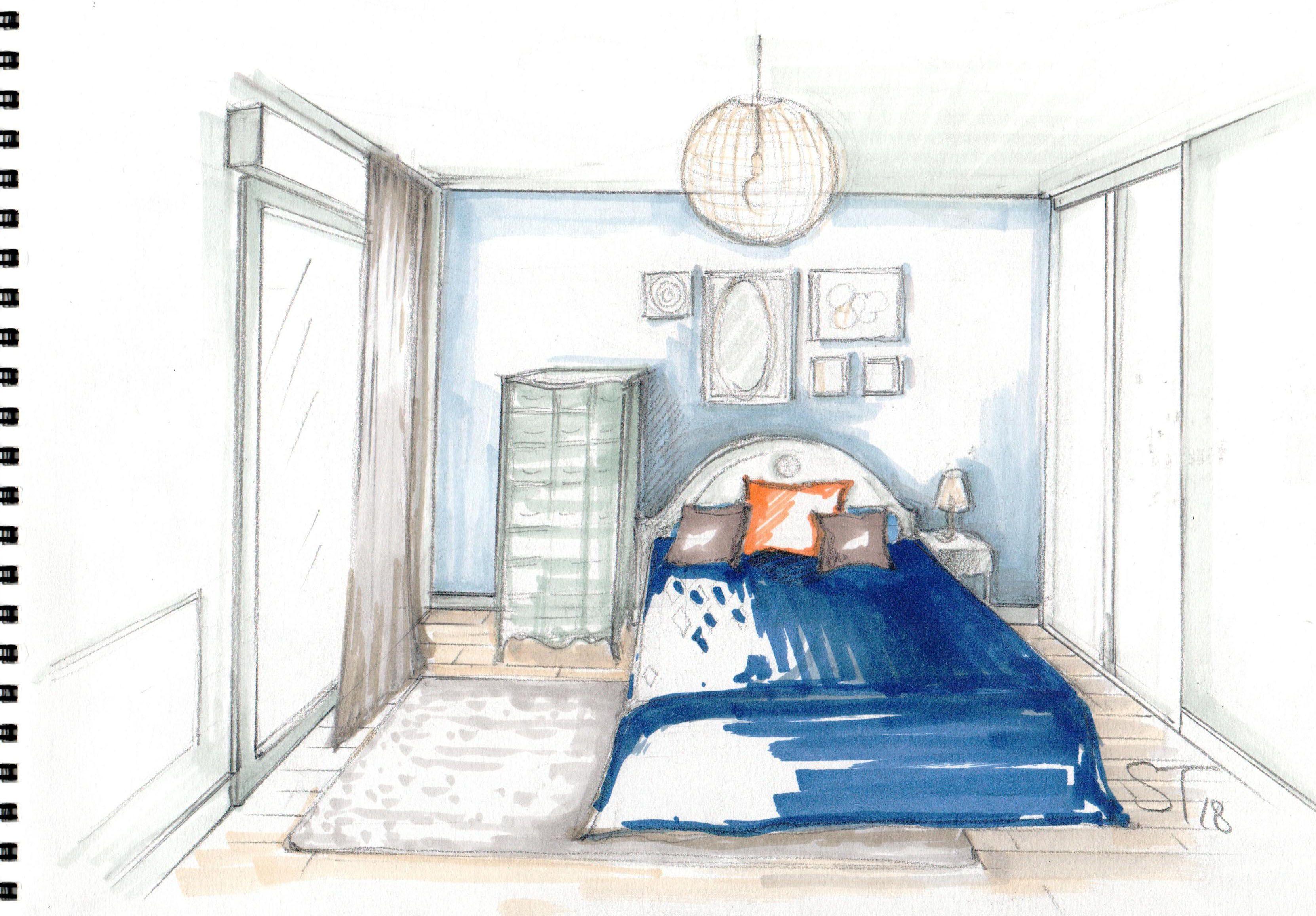 Croquis chambre à coucher | Deco chambre, Peinture chambre ...
