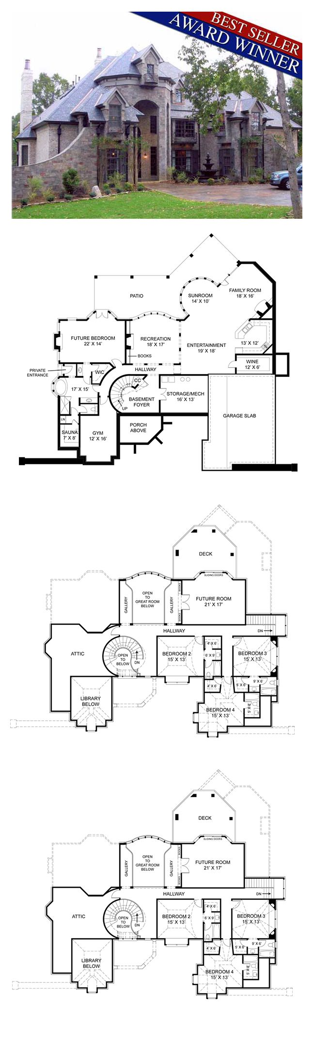 luxury house plan 72201 total living area 4041 sq ft 4