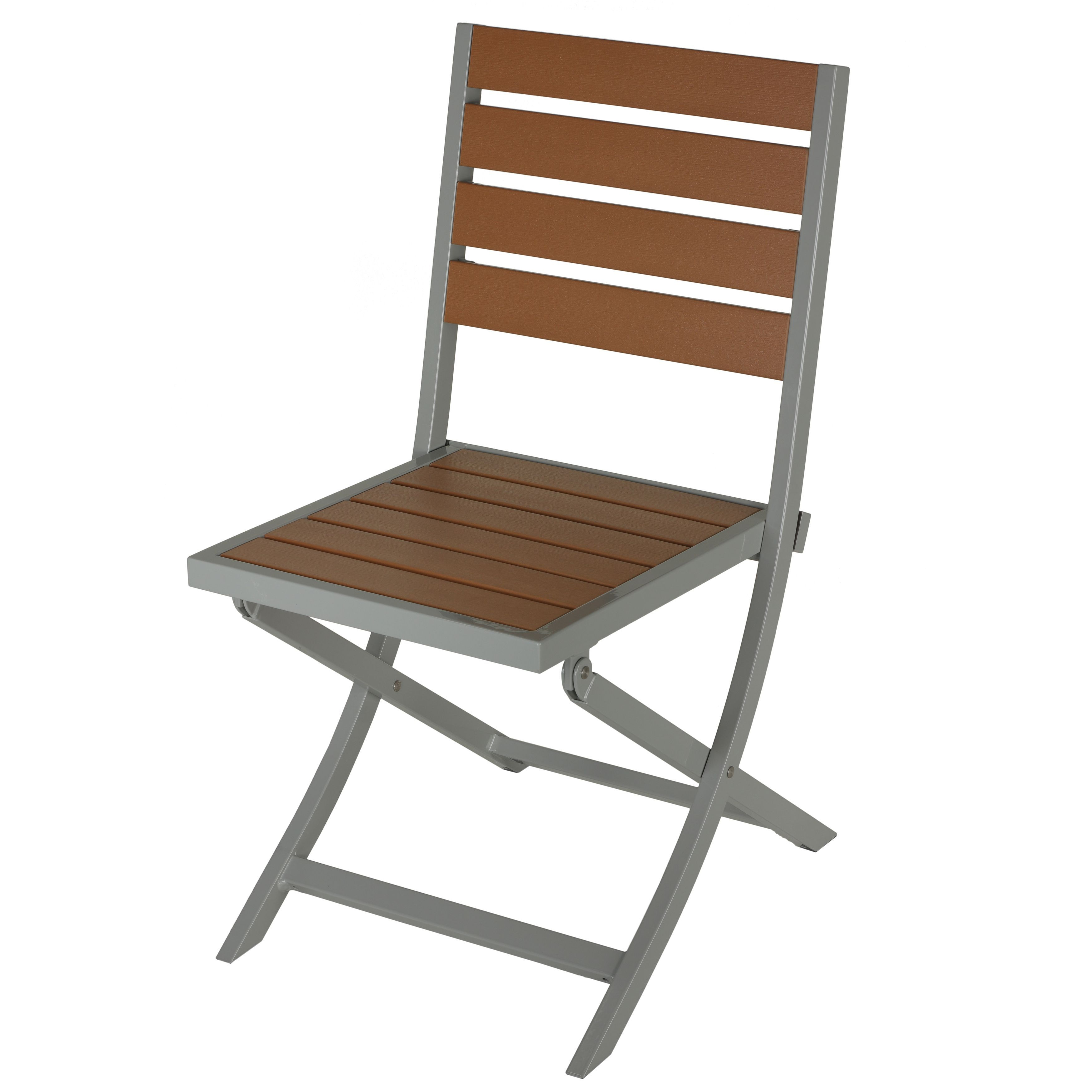 Cortesi Home Avery Silver/Teak Brown Aluminum/Plastic Outdoor Folding Chair  (Brown Folding Chair), Patio Furniture