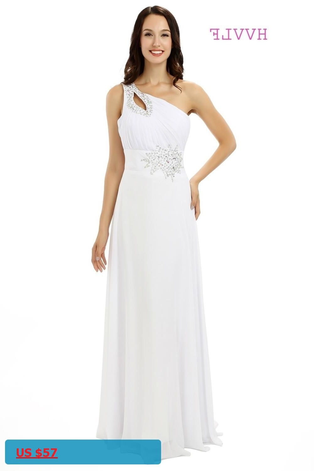 White cheap bridesmaid dresses under aline oneshoulder