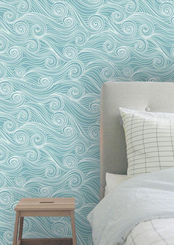 Removable Wallpaper Wallpaper Peel And Stick Wallpaper Self Adhesive Wallpaper Temporary Wallpaper Waves Wallpap Room Colors Aqua Wallpaper Wall Paint Designs