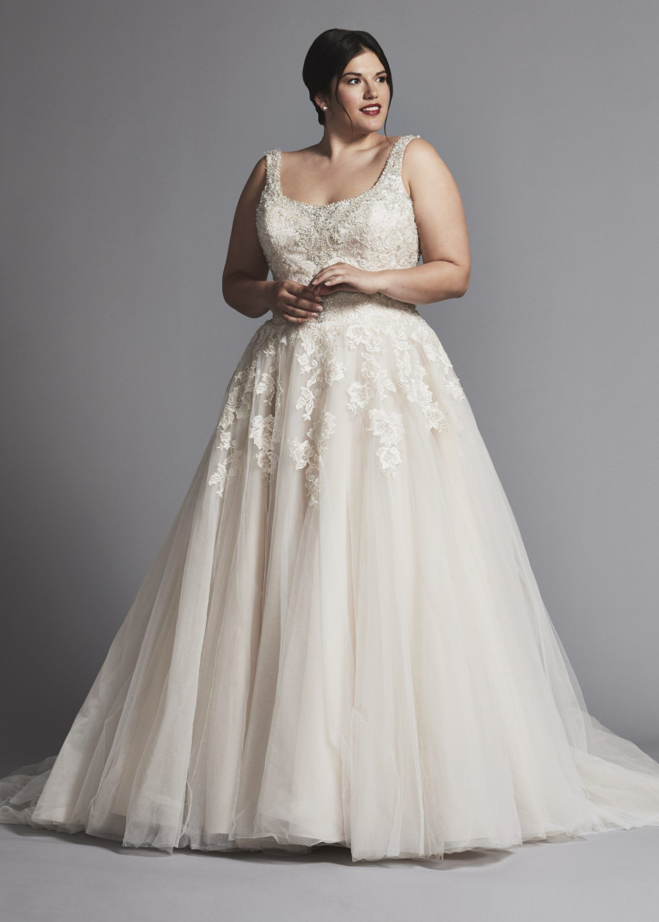 Beaded And Lace Bodice Scoop Neck With A Line Tulle Skirt Wedding Dress Danielle Wedding Dresses Kleinfeld Tulle Skirt Wedding Dress Plus Size Wedding Gowns