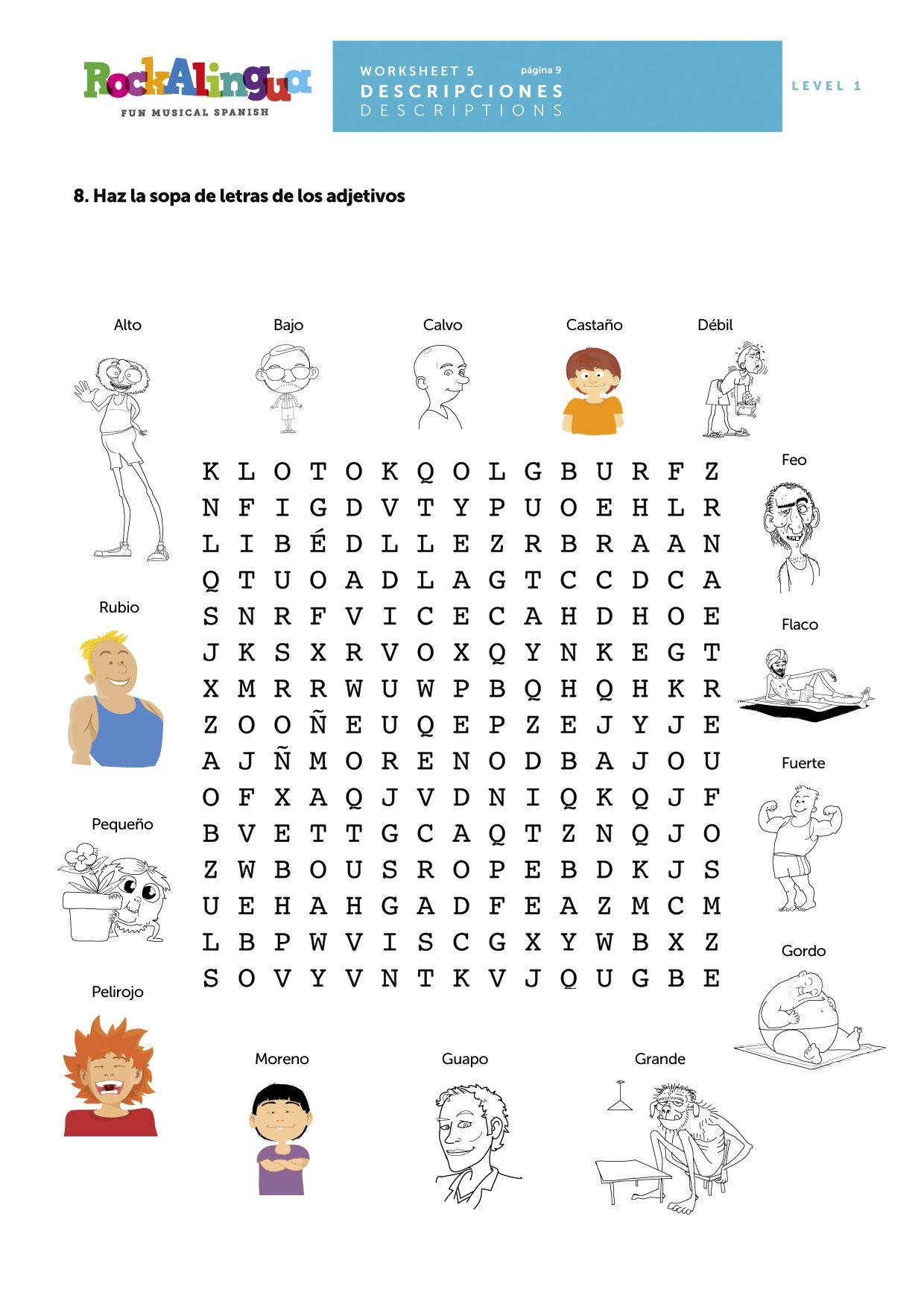Sopa de letras de adjetivos. www.rockalingua.com   actividades ...