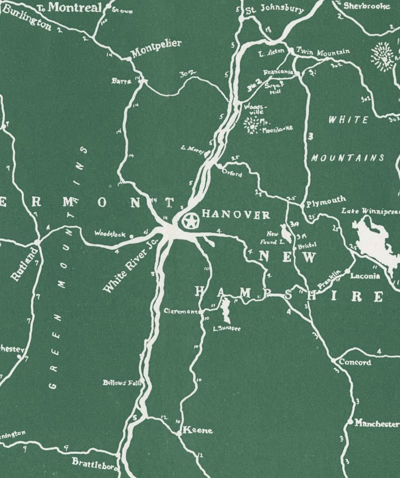 Archival map of the Upper Valley from Rauner Library at Dartmouth ...