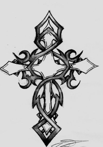Pictures Of Tribal Cross Tattoos: Pin On Drawing Examples