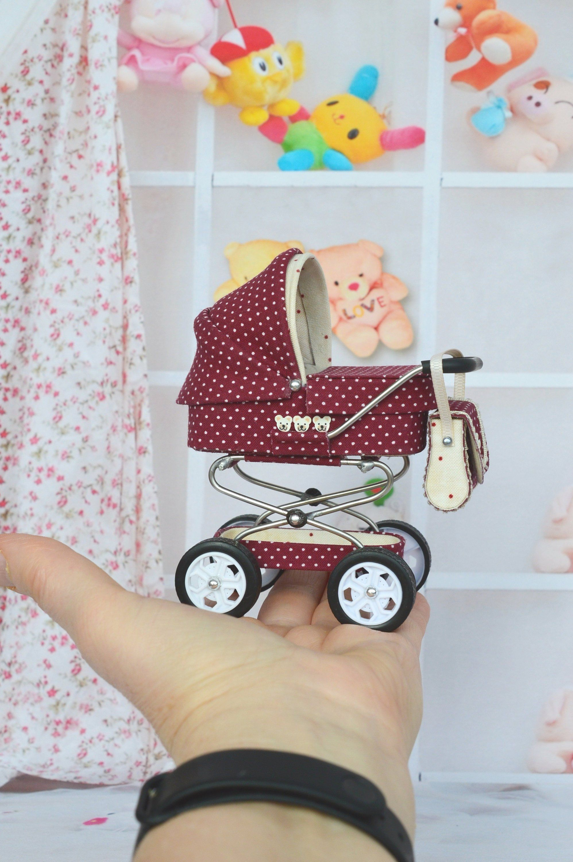 Miniature Baby Carriage Stroller  12th scale/  Miniature for doll house/  Miniature collection/  Stroller for Dolls #dollhouse