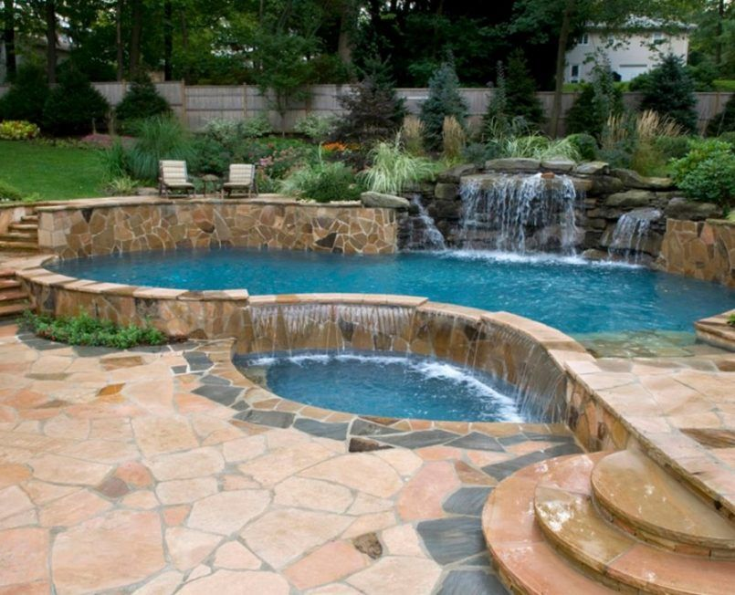 swiming pools garden design ideas with landscaping design also in ground pool design and water fall - In Ground Pool Design Ideas