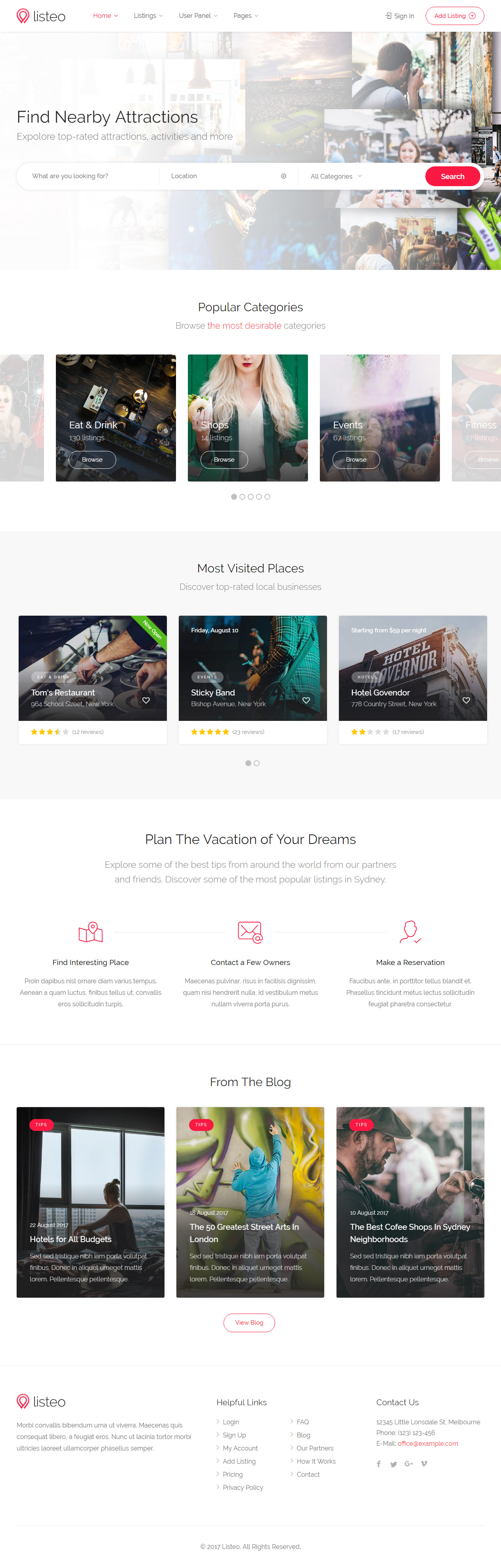 Listeo Is Premium Full Responsive Retina Html5 Template Bootstrap 3 If You Like This Directorytemplate Visit Templates Html Templates Free Design Resources