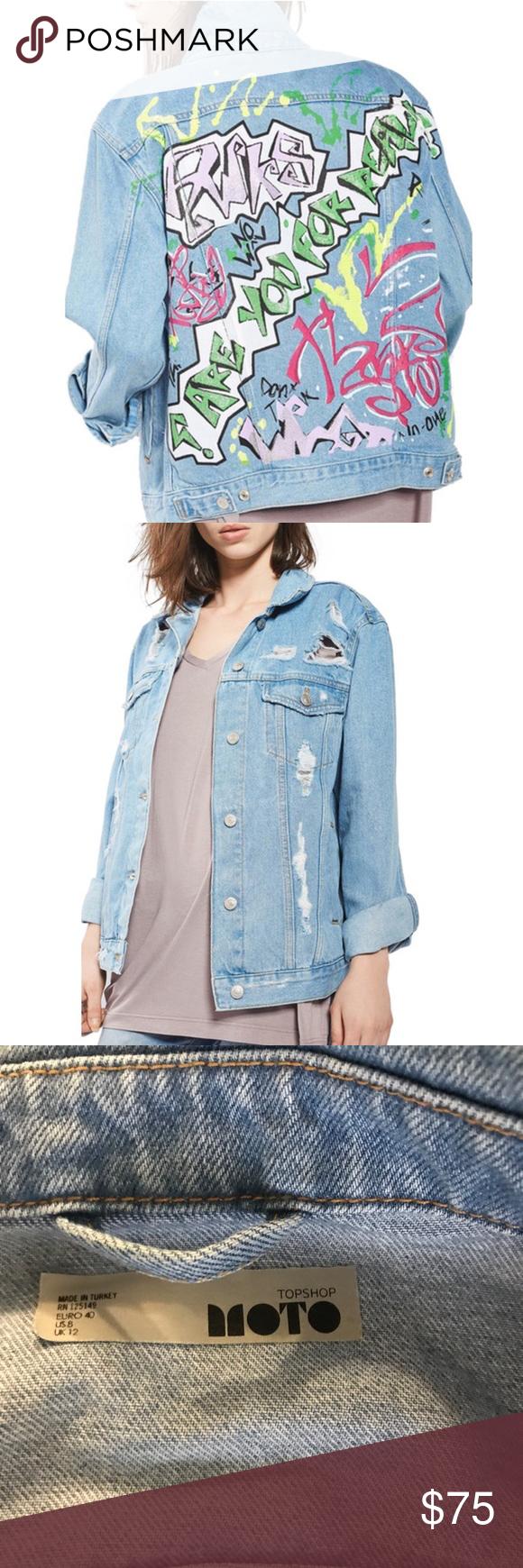 "Topshop Moto Graffiti Denim Jacket This is a super cool and UNIQUE jacket, so Fun! It is a ripped, oversized light wash denim jacket with bright graffiti on the back. Make a statement as you walk away!  This jacket features point collar, long sleeves with button cuffs, chest button-flap pockets and side welt pockets. 100% cotton. It is US size 8. Bust 36.25"" Waist 29"" and Hip 38.25"" It has only worn a few times, like new, excellent condition. Offers are welcome! Topshop Jackets & Coats Jean…"