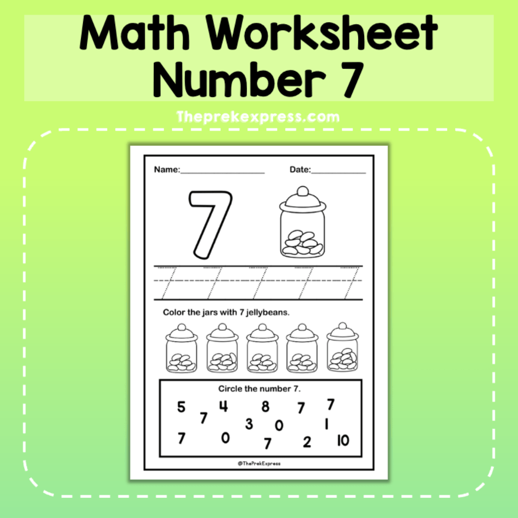 Number 7 Introducing Worksheet Numbers Kindergarten Math Number Sense Pre K Worksheets [ 1024 x 1024 Pixel ]