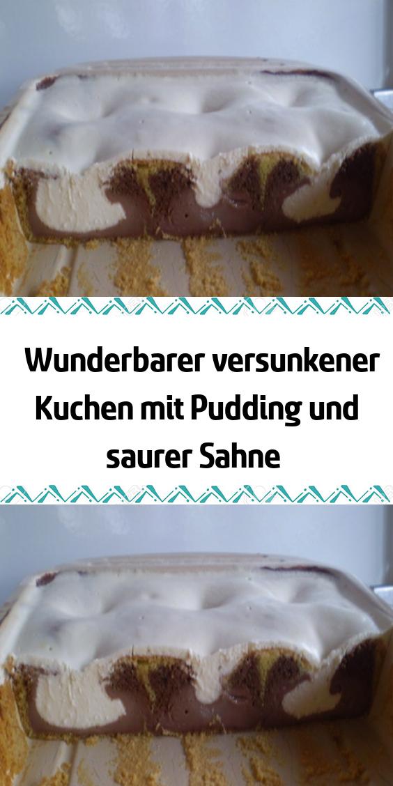 Wunderbarer versunkener Kuchen mit Pudding und saurer Sahne #schokokuchen
