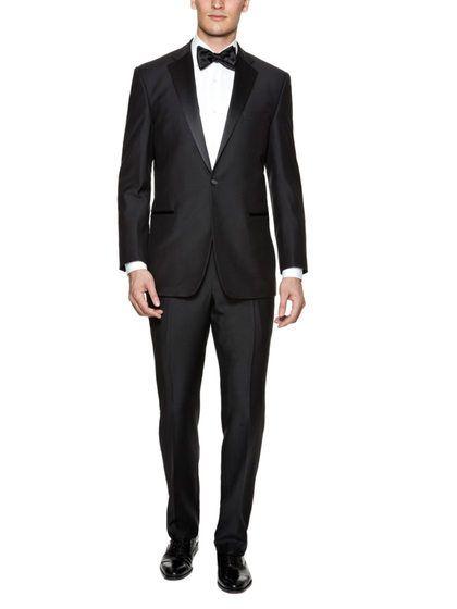 161b90ce3ba Slim Fit Black Notch Lapel Tuxedo by Yves Saint Laurent Pour Homme at Gilt