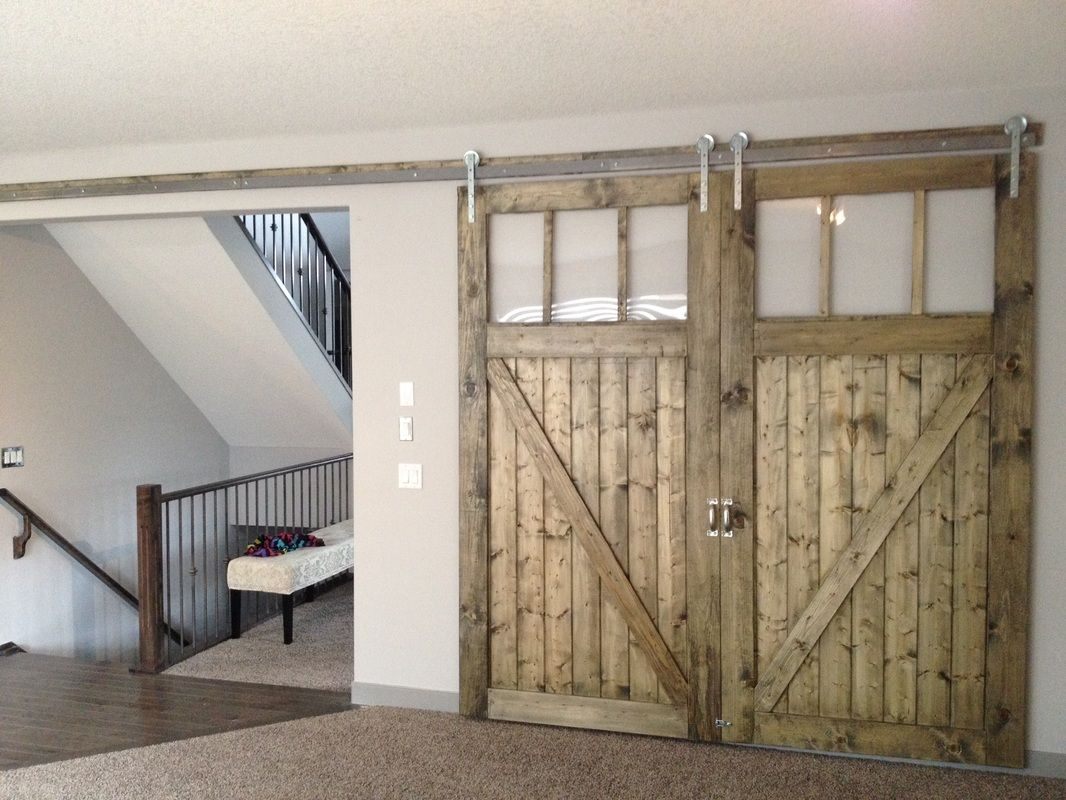 HIS HER Double Oversized Sliding Barn Doors With Windows